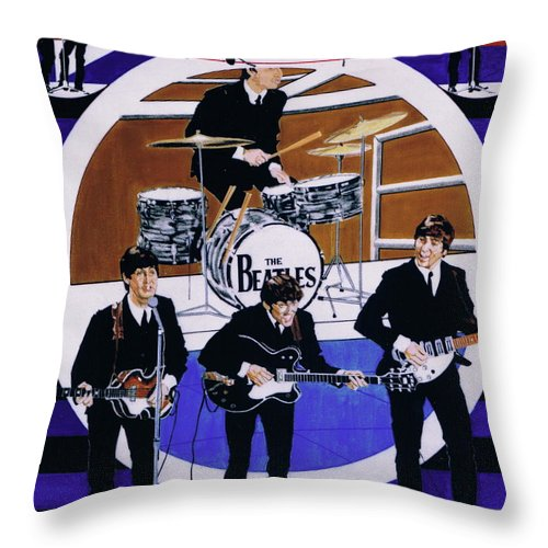 1960s Throw Pillow featuring the drawing The Beatles - Live On The Ed Sullivan Show by Sean Connolly