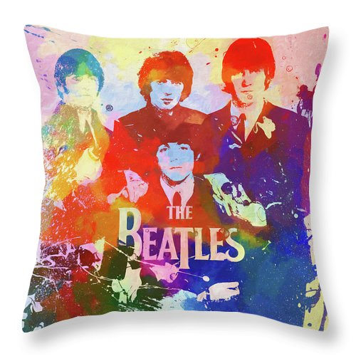 The Beatles Watercolor Throw Pillow featuring the painting The Beatles Paint Splatter by Dan Sproul