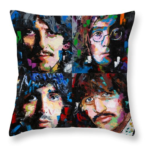 The Beatles Throw Pillow featuring the painting The Beatles by Richard Day