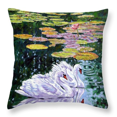 Swans Throw Pillow featuring the painting The Beauty Of Peace by John Lautermilch