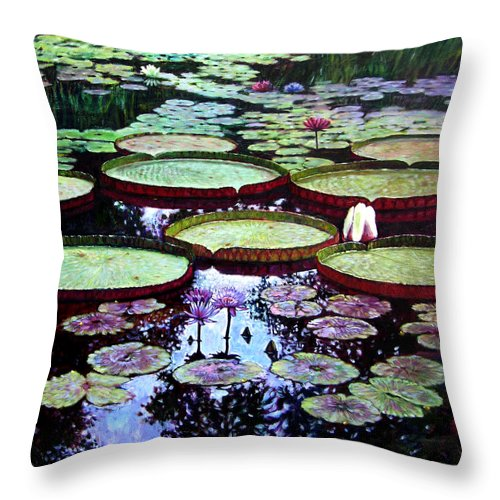 Garden Throw Pillow featuring the painting The Beauty Of Stillness by John Lautermilch
