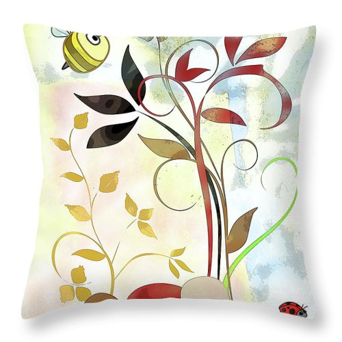 Bee Throw Pillow featuring the mixed media The Bee And The Ladybug by Ruth Palmer