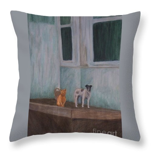 Cat Throw Pillow featuring the painting The Beginning by Emily Young