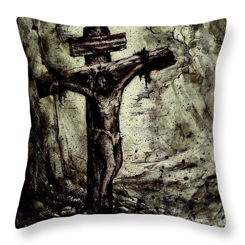 Figure Throw Pillow featuring the drawing The Beloved Son by Rachel Christine Nowicki