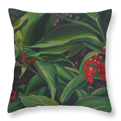 Berries Throw Pillow featuring the painting The Berries On Guanella Pass by Hunter Jay