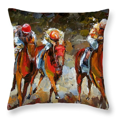 Horse Race Throw Pillow featuring the painting The Best by Debra Hurd
