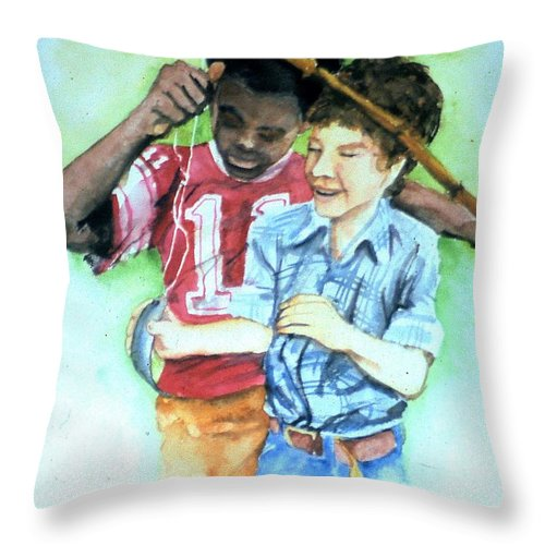 Fish Throw Pillow featuring the painting The Big Catch by Jim Harris