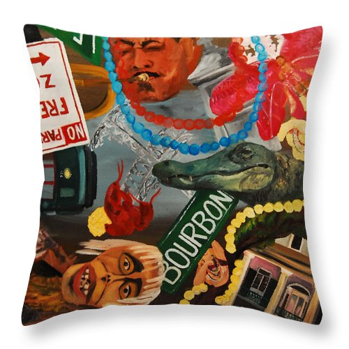 Louisiana Throw Pillow featuring the painting The Big Easy by Lauren Luna