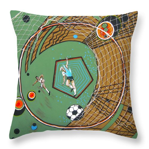 Abstract Sports Throw Pillow featuring the painting The Big Kick by V Boge