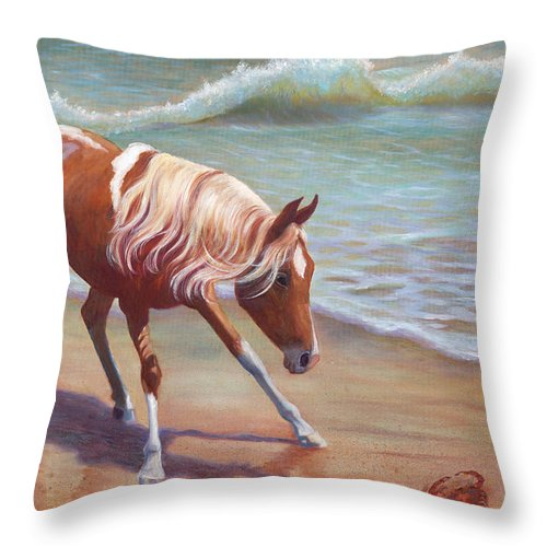 Animals Throw Pillow featuring the painting The Big Standoff by Brenda Griffin