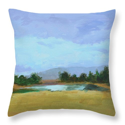 Landscape Throw Pillow featuring the painting The Big Thaw by Mary Chant