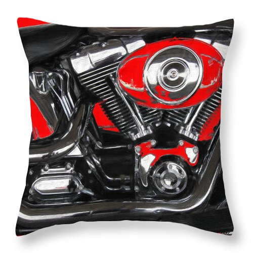 Motorcycle Art Throw Pillow featuring the painting The Big Twin Cam by Wayne Bonney
