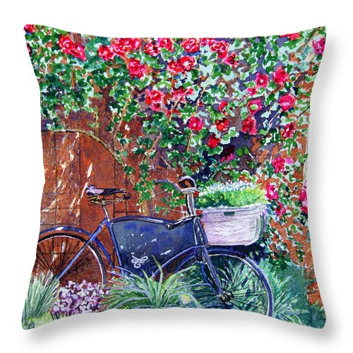 Bike Throw Pillow featuring the painting The Bike At Bistro Jeanty Napa Valley by Gail Chandler
