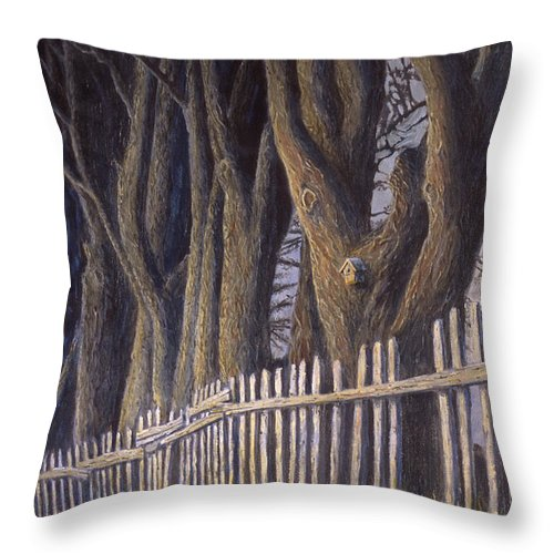 Bird House Throw Pillow featuring the painting The Bird House by Jerry McElroy