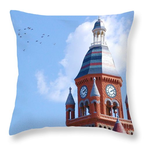 Clock Throw Pillow featuring the photograph The Birds by Debbi Granruth