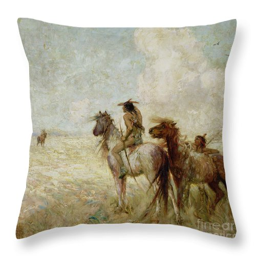 The Throw Pillow featuring the painting The Bison Hunters by Nathaniel Hughes John Baird
