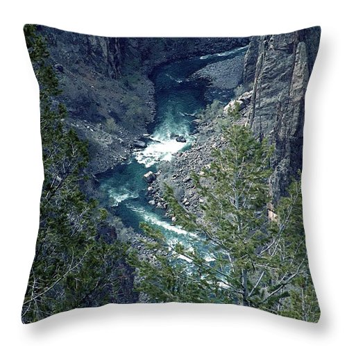 Canyon Throw Pillow featuring the painting The Black Canyon Of The Gunnison by RC DeWinter