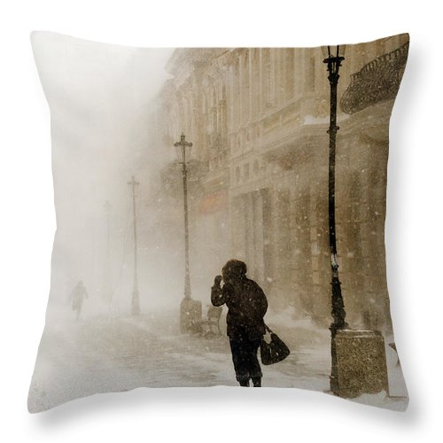 Blizzard Throw Pillow featuring the photograph The Blizzard II by Adrian Berendei