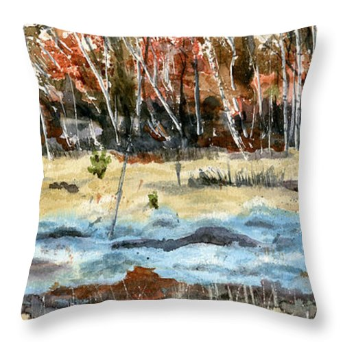 Landscape Throw Pillow featuring the painting The Blue Bog by Mary Tuomi