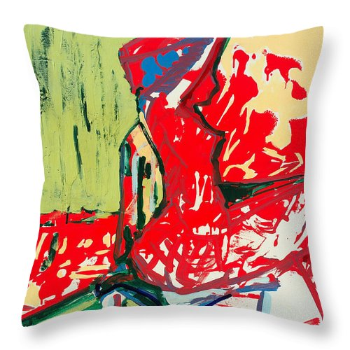 Woman Throw Pillow featuring the painting The Blue Chair by Kurt Hausmann