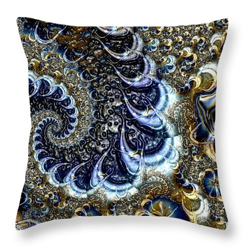 Fractal Diamonds Blue Jewel Dance River Throw Pillow featuring the digital art The Blue Diamonds by Veronica Jackson