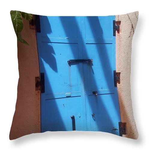 Architecture Throw Pillow featuring the photograph The Blue Door by Debbi Granruth