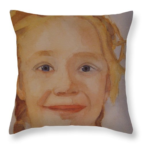 Partrait Throw Pillow featuring the painting The Blue-eyed Duckling by Jenny Armitage