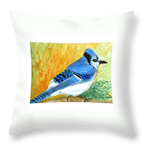 Bird Throw Pillow featuring the painting The Blue Jay by Asha Sudhaker Shenoy