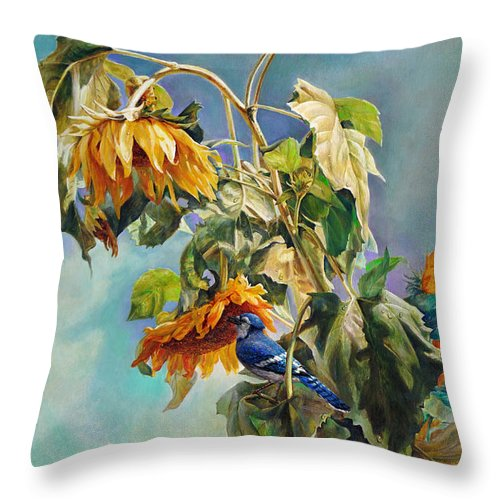 Sunflower Throw Pillow featuring the painting The Blue Jay Who Came To Breakfast by Svitozar Nenyuk