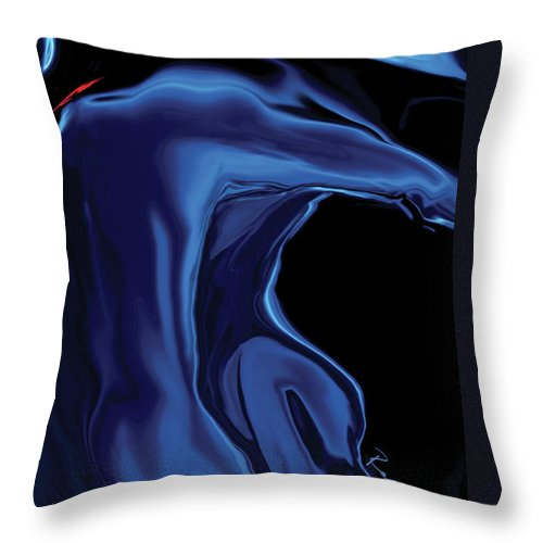 Abstract Throw Pillow featuring the digital art The Blue Kiss by Rabi Khan