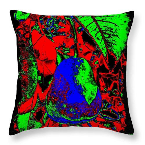Abstract Throw Pillow featuring the digital art The Blue Pear by Will Borden