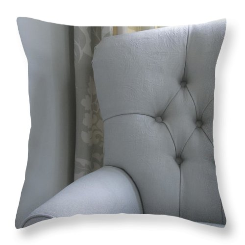 Chair Throw Pillow featuring the photograph The Blue Room by Margie Hurwich