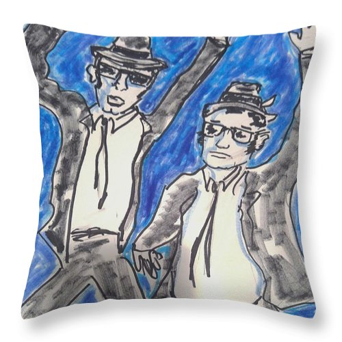 Blues Brothers Throw Pillow featuring the painting The Blues Brothers by Geraldine Myszenski