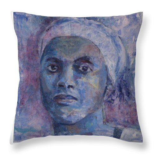 Woman Throw Pillow featuring the painting The Blues by Connie Freid