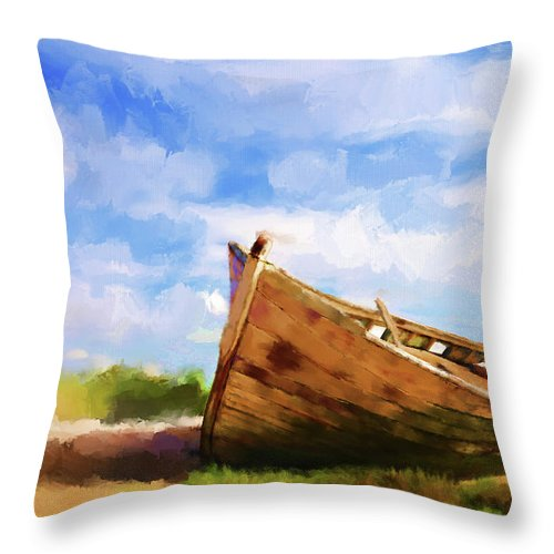Boats Throw Pillow featuring the painting The Boat by Michael Greenaway