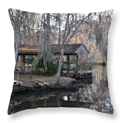 Boats Throw Pillow featuring the photograph The Boathouse by Tiffney Heaning