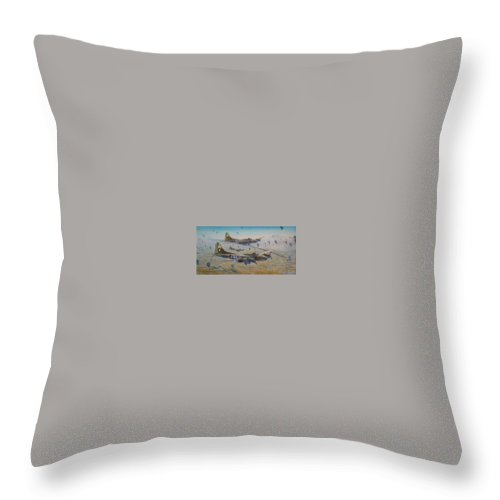 303rd Bomb Groups Vicious Virgin Throw Pillow featuring the painting The Bomb Run Over Schwienfurt by Scott Robertson