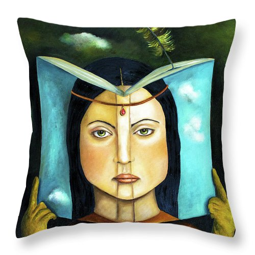 Book Throw Pillow featuring the painting The Book Of Secrets by Leah Saulnier The Painting Maniac