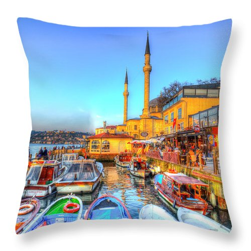 Istanbul Throw Pillow featuring the photograph The Bosphorus Istanbul by David Pyatt