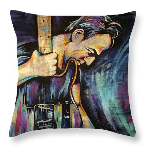 The Boss Throw Pillow featuring the painting The Boss Bruce Springsteen by Amy Belonio