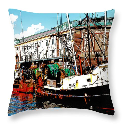 Boston Throw Pillow featuring the digital art The Boston Fish Pier by Michelle Constantine