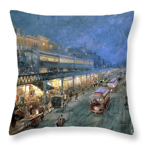 The Bowery At Night Throw Pillow featuring the painting The Bowery At Night by William Sonntag