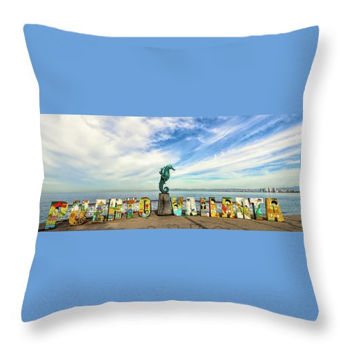 Art Throw Pillow featuring the photograph The Boy On The Seahorse Pano by Paul LeSage