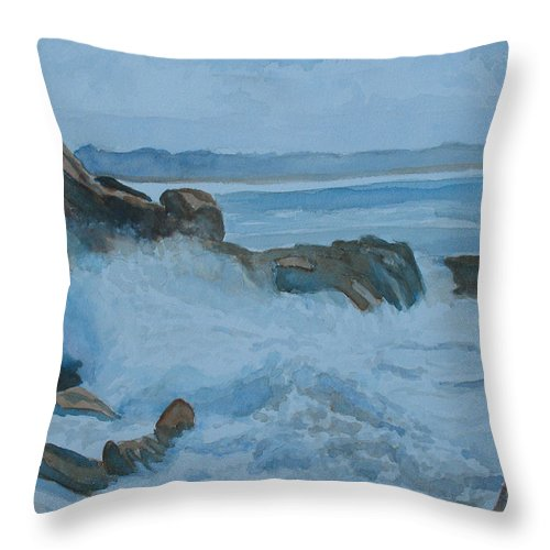Breakers Throw Pillow featuring the painting The Breakers Below Yaquina Head I by Jenny Armitage