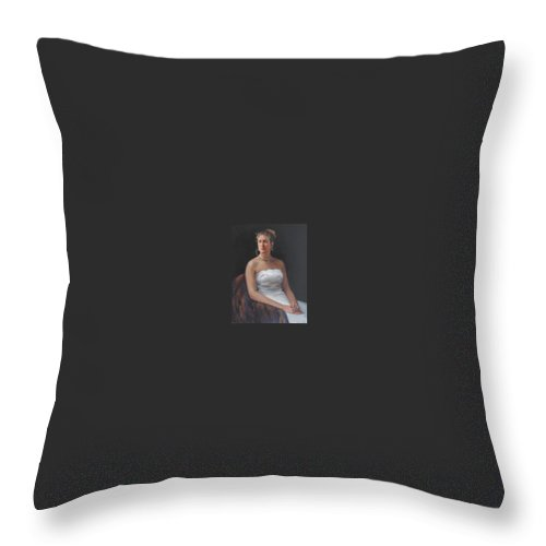 Formal Portrait Throw Pillow featuring the painting The Bride by Dianne Panarelli Miller