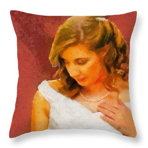 Wedding Throw Pillow featuring the painting The Bride To Be by Jeffrey Kolker