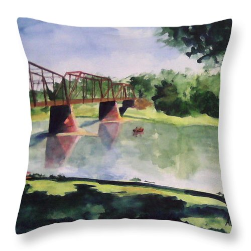 Bridge Throw Pillow featuring the painting The Bridge At Ft. Benton by Andrew Gillette
