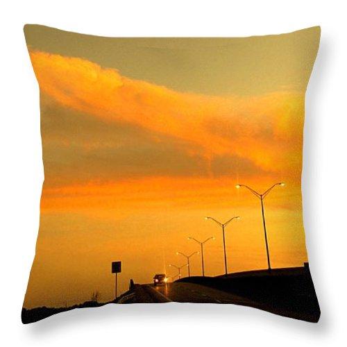 Sunset Throw Pillow featuring the photograph The Bridge At Sunset by Ian MacDonald