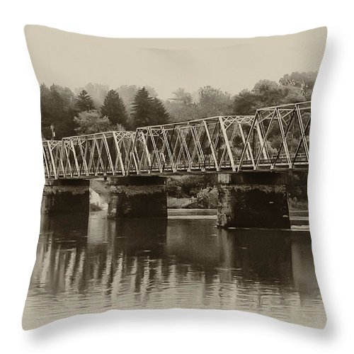 The Bridge At Washingtons Crossing Throw Pillow featuring the photograph The Bridge At Washingtons Crossing by Bill Cannon