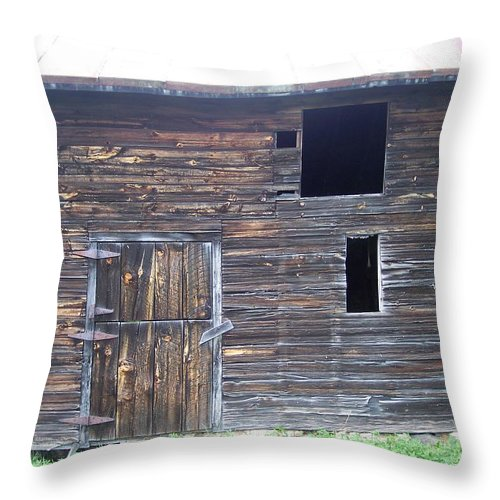 Barn Farm Rustic Old Country Brown Windows Door Throw Pillow featuring the photograph The Broadside Of A Barn by Anna Villarreal Garbis